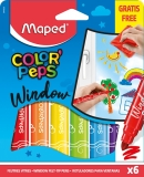 Carioca Color Peps pentru geam 6 culori/set + laveta microfibra Maped
