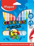 Carioci Color Peps Jungle 12 culori/set Maped