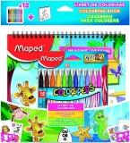 Set activitati copii Jungle/Ocean, format din 12 carioci, carte de colorat, abtibilduri si sabloane Maped