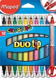 Carioca Color Peps Duo Tip, 2 varfuri, 10 culori/set, Maped