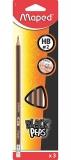 Creion grafit HB cu guma de sters, 3 buc/set, Black Peps Maped