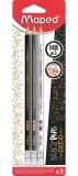 Creion grafit cu guma HB, 3 buc/set, Black Peps Deco Maped