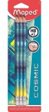 Creion grafit HB cu guma de sters, 6 buc/set, diverse modele, Cosmic Teens Maped