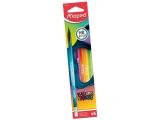 Creion grafit HB cu guma de sters, 6 buc/set, Black Peps Energy Maped
