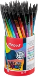Creion grafit HB cu guma de sters, 72 buc/set, Black Peps Energy Maped
