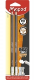 Creion grafit HB cu guma de sters, 2 buc/set si ascutitoare, Black Peps Jumbo Maped