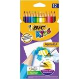 Creioane colorate, Aquacoleur, 12 culori/set, Bic
