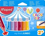 Creioane cerate colorate Color Peps My First Jumbo, 12 culori/set, Maped