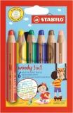 Creioane colorate 3in1 Woody 6 bucati/set Stabilo