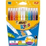 Carioci 10 culori + 2 corectoare Colour&Erase Bic