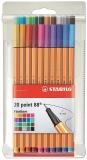 Liner 0.4 mm Point 88, 20 culori/set Stabilo