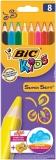 Creioane color Supersoft 8 culori/set + ascutitoare Bic