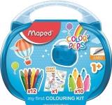 Creioane cerate colorate 12 culori/set, carioci 10 culori/set si poster Color Peps Jumbo Maped