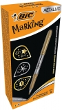 Marker permanent Metallic Marking, Auriu/Argintiu, 12 buc/cutie, Bic