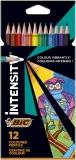 Creioane colorate Intensity, mina ultra-rezistenta, 12 culori/set BIC