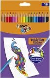 Creioane colorate Kids Evolution Illusion, cu radiera, 18 culori/set BIC