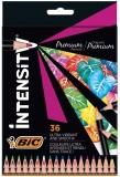 Creioane colorate din lemn, mina ultra-rezistenta, 36 culori/set, BIC Intensity Premium