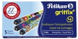 Patroane cerneala mari, Royal Blue Griffix, 5 buc/set Pelikan