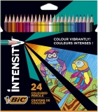 Creioane colorate Intensity, mina ultra-rezistenta, 24 culori/set BIC