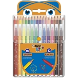 Carioci Kid Couleur 12 buc/set + Creioane colorate Evolution Standard 18 buc/set Bic