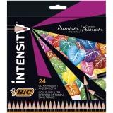 Creioane colorate din lemn, mina ultra-rezistenta, 24 culori/set, BIC Intensity Premium