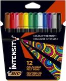 Marker Intensity, cerneala lavabila, 12 culori/set BIC