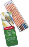 Creioane acuarela, culori metalizate, 6 culori/set Profesional Derwent Academy