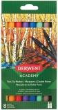 Set 8 carioci cu 2 capete, calitate superioara, pentru artisti aspiranti, 1 varf tip pensula si 1 varf fin Derwent Academy