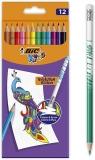 Creioane colorate cu radiera Evolution Illusion 12 buc/set Bic