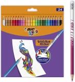 Creioane colorate cu radiera Evolution Illusion 24 buc/set Bic