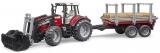 Jucarie Tractor Massey Ferguson 7480 cu incarcator frontal si remorca pentru lemne Bruder