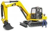 Set de joaca Mini Excavator CAT cu muncitor Bruder