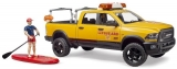 Jucarie Masina lifeguard RAM 2500 cu figurina si paca surf Bruder