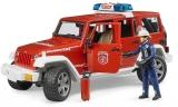Jucarie Jeep Wrangler Unlimited Rubicon de pompieri cu figurina Bruder