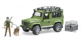 Jucarie Masina de teren Land Rover Defender cu padurar si caine Bruder