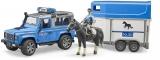 Set de joaca Masina de politie Land Rover Defender cu remorca, politist si cal Bruder