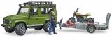 Jucarie Masina de teren Land Rover Defender cu remorca si motocicleta Ducati Bruder