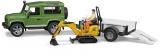 Set de joaca Masina de teren Land Rover Defender cu Remorca si Micro Excavator JCB cu muncitor Bruder