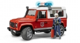 Jucarie Masina de pompieri Land Rover Defender si pompier Bruder