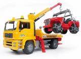 Set de joaca Camion de tractare MAN TGA si vehicul de teren Bruder
