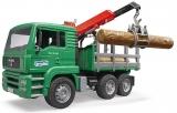 Jucarie Camion lemne MAN TGA cu macara de incarcare si 3 busteni Bruder