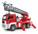 Jucarie Camion de pompieri MAN TGA cu scara, pompa de apa si sirena Bruder
