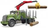 Jucarie Camion lemne Mack Granite cu macara de incarcare, grafier si 3 busteni Bruder