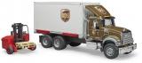 Jucarie Camion UPS Mack Granite cu stivuitor Bruder