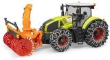 Jucarie Tractor Claas Axion 950 cu lanturi si freza de zapada Bruder