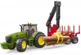 Jucarie Tractor John Deere cu remorca forestiera si 4 busteni Bruder
