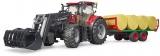 Jucarie Tractor Case IH Optum 300 CVX cu incarcator frontal si remorca transport cu 8 baloti Bruder