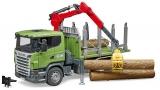 Jucarie Camion forestier Scania R-Series cu macara de incarcare, graifer si 3 busteni Bruder