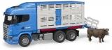 Jucarie Camion transport bovine Scania R-Series si o vita Bruder