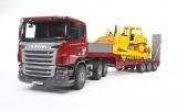 Set de joaca Camion incarcare Scania R-Series si buldozer CAT Bruder